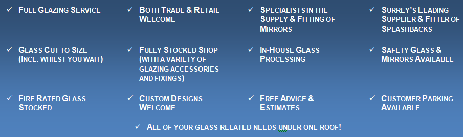 An image listing the products and services supplied by Hamilton Glass Products Ltd