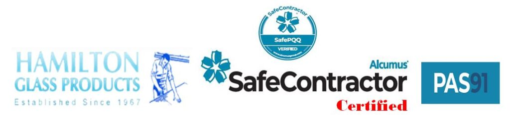 A logo image for Hamilton Glass Products Ltd showing their Safe Contractor award